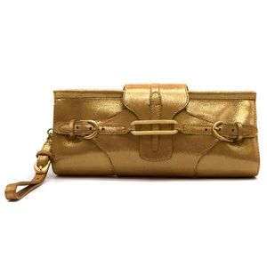 Jimmy Choo Gold High-Shine Tulita Clutch Bag